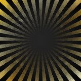 Abstract retro shiny starburst black background with gold dots pattern texture halftone style. Vintage rays backdrop, boom, comic stock illustration
