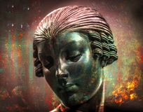 Abstract RETRO Statue Double Exposure Metal Fire royalty free illustration