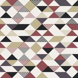 Abstract retro style triangles pattern with lines diagonally gol. D, black, red color on white background. Vector illustration Vector Illustration