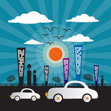 Abstract Retro Vector City. With Buildings, Cars, Trees, Sun and Clouds Royalty Free Stock Images
