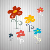 Abstract Retro Vector Flowers Royalty Free Stock Photography