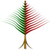 Abstract reversed Christmas tree from red and green strips Royalty Free Stock Photo