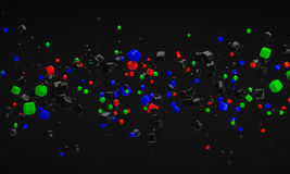 Abstract RGB atom nano technology particle background 3d renderi Stock Photos