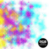 Abstract RGB halftone retro background. Yellow Pink Blue halftone vector background, with circles and fine points. Vector illustration in RGB colors Stock Image