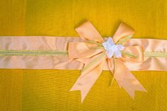 Abstract ribbon bow on fabric. Stock Images