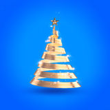 Abstract Ribbon Christmas Tree. Abstract 3D christmas golden ribbon tree with clipping path Stock Photography