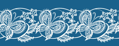 Abstract ribbon lace with flowers and butterflies Stock Image