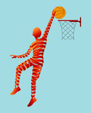 Abstract ribbon shaped with basketball player. Stock Photos
