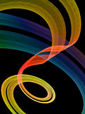 Abstract of ribbons of light against a black background. Abstract of ribbons of light in yellow, red, blue and green against a black background Royalty Free Stock Photos