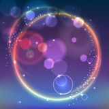 Abstract ring background. With luminous swirling sparkle. Glowing spiral. Shine round frame with circles light effect on bright background with bokeh effect Royalty Free Stock Image