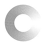 Abstract ring of black dots. Halftone effect with gradient. Modern design vector background Stock Photos