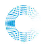 Abstract ring of blue dots. Halftone effect with gradient. Modern design vector background Royalty Free Stock Photos