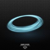Abstract ring of swirling neon lines on a transparent dark background. Fantastic circle. Chaotic luminous lines. Vector. Illustration. EPS 10 stock illustration