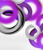 Abstract rings composition in grey 3d space with blurred effects. Vector digital wallpaper or business technology presentation background Royalty Free Stock Images