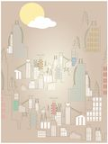 Abstract Rising Cityscape Bright Simple Sun Cloud Royalty Free Stock Photo