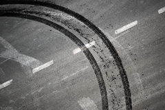 Abstract road background. With crossing of road marking and tires track Royalty Free Stock Photography