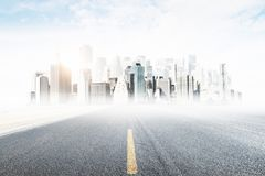 Way and opportunity concept. Abstract road with city view. Way and opportunity concept Stock Image