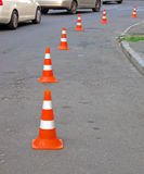 Abstract road cones heap, security barier details, Royalty Free Stock Images