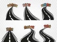 abstract road with dividing marking and cityscape icons set on checkered background,highway vector Stock Photo