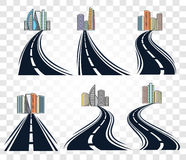 abstract road with dividing marking and cityscape icons set on checkered background,highway vector Royalty Free Stock Image