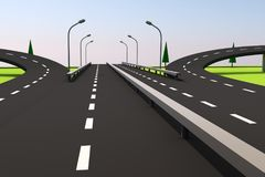 3D illustration of a road and a bridge on an abstract plot. Abstract road with overpasses and a dividing strip, trees, supports of illumination Royalty Free Stock Image