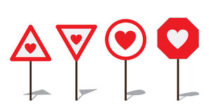 Abstract Road sign with heart Stock Photos