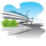 Road under overpass sky train bridge Stock Photography