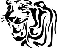 Abstract roaring tiger head. Illustrated isolated  roaring tiger head abstract black and white design with isolated white background Royalty Free Stock Images