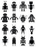 Abstract robots icons set. Abstract robots vector icons set in black vector illustration