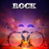 Abstract rock music background. Abstract music dark background with drum kit Royalty Free Stock Photo