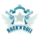 Abstract rock-n-roll image. With two revolvers and wings royalty free illustration