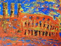 Art abstract paint with acrylic colors. Abstract roman cityscape of the Colosseum painted by acryl Royalty Free Stock Photos