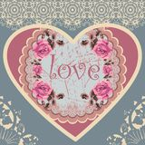 Abstract romantic heart .Valentine card. Shabby Chic - ornament rose Royalty Free Stock Photography