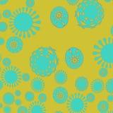 Abstract rond bloemen geel patroonturkoois Stock Illustratie