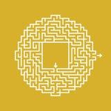 Abstract rond labyrint Spel voor jonge geitjes en volwassenen Raadsel voor kinderen Labyrintraadsel Vlakke vector geïsoleerde ill stock illustratie
