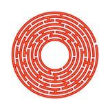 Abstract rond labyrint Spel voor jonge geitjes Raadsel voor kinderen Labyrintraadsel Vlakke vectordieillustratie op witte backgro stock illustratie