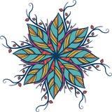 Abstract rond ornament, mandala met bladeren Cirkel botanisch die motief, patroon op witte achtergrond wordt geïsoleerd Stock Fotografie
