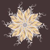 Abstract rond ornament, mandala met bladeren Cirkel botanisch motief, licht die patroon op donkere achtergrond wordt geïsoleerd Royalty-vrije Stock Afbeelding