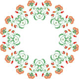 Abstract rond ornament, mandala met Indische gestileerde bloemen Stock Illustratie
