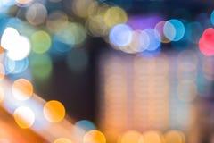 Abstract rondschrijven van Lichte auto's bokeh in stad bij nacht Stock Fotografie