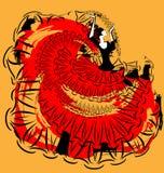 Abstract rood-geel beeld van flamenco Stock Afbeeldingen