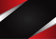 Abstract rood metaal op hexagon van het achtergrond netwerk zwarte ontwerp textuurvector Royalty-vrije Stock Afbeelding