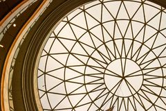 Abstract roof huge window with ornamentical parts. royalty free stock images