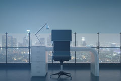 Abstract roof office. With night city view. 3D Rendering Royalty Free Stock Photography
