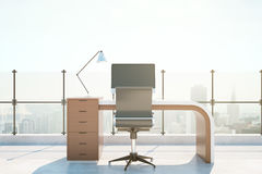 Abstract roof office. With workplace and bright city view. 3D Rendering Royalty Free Stock Image