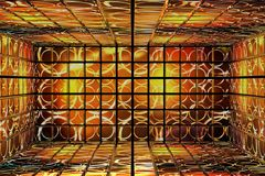 Abstract room of the Golden cube. Stock Image