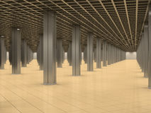 Abstract room with metal columns and tiled floor Stock Photography