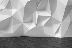 Abstract room with white rumpled wall and wooden black parquet. Abstract room with white wall with rumpled futuristic triangular geometric surface and wooden Royalty Free Stock Photo