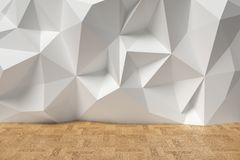 Abstract room with white rumpled wall and parquet. Abstract room with white wall with rumpled futuristic triangular geometric surface and wooden parquet floor Stock Images