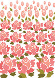 Abstract Rose flower pattern. Green background. Vector Stock Image